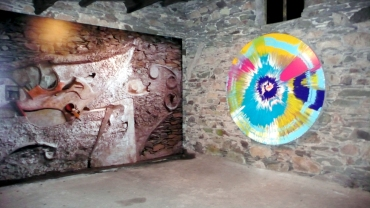 Damien Hirst's Spin Painting on display in the Merz Barn, May 2009.