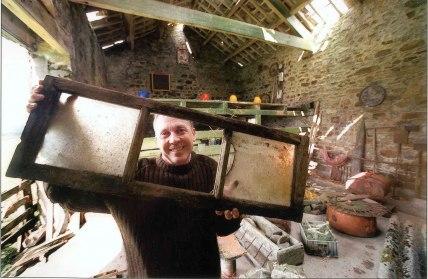 Australian artist Trevor Woodward working in Swallow Scar barn
