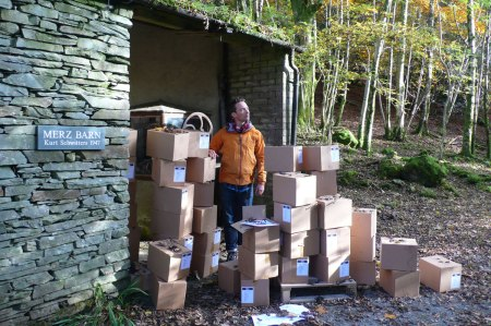 Artist Adam Chodzko storing the artwork for his contribution to the 'Kurt Schwitters in England' show at Tate Britainm in the Merz Barn