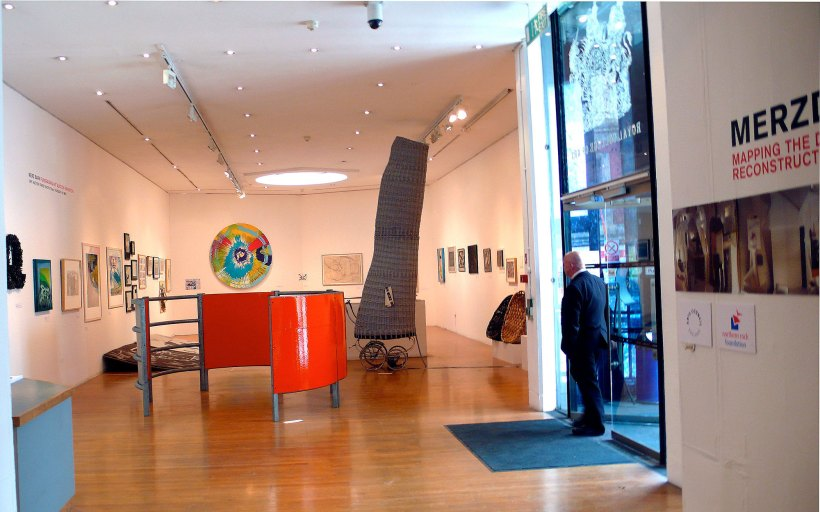 The RCA Auction: donated artworks on display.