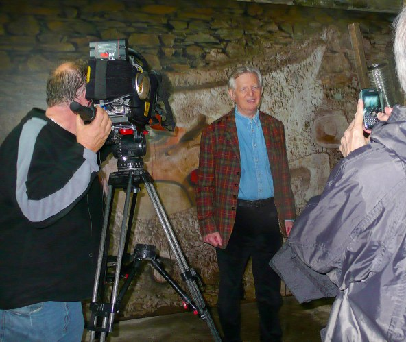 John Elderfield being filmed for 'Look North Tonight' in the Merz Barn, 1.10.10.