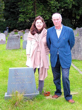 Littoral Trustee writer Mel Gooding and his wife Rhiannon by Schwitters' grave in Ambleside.