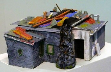 Scultural model of Jack's Cottage by artist Jill Randall, 2014.