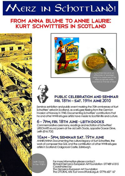 Flyer for 'Merz in Schottland'.