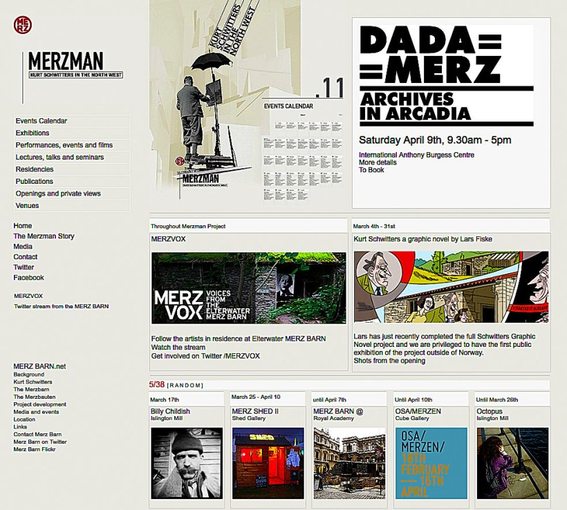 First page of the MerzMan website, Dave Kirkwood, 2011