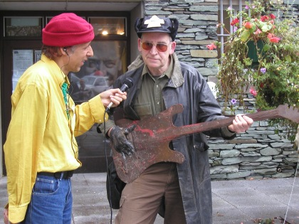 Outside the Old Police Station, Ambleside 2007: Roger Drury interviews Cumbrian performance artist Kevin O'Connor.