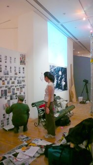 Peter Lewis and Makiko installing their 'Redux' display.