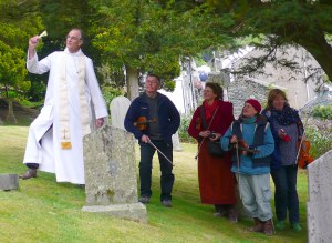 Vicar George Wrigley blessing the Lakeland Fiddlers.