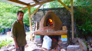 Tom Branton firing the new oven