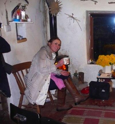 Dianne in Jack's cottage.
