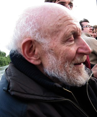 Veteran artist Gustav Metzger on the boat.