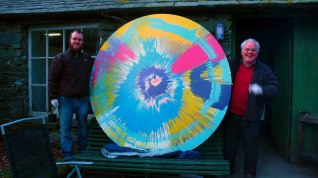 Damien Hirst's Spin Painting arrives at Cylinders: outside the Shippon.