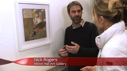 Curator Nick Rogers in Abbott Hall Gallery